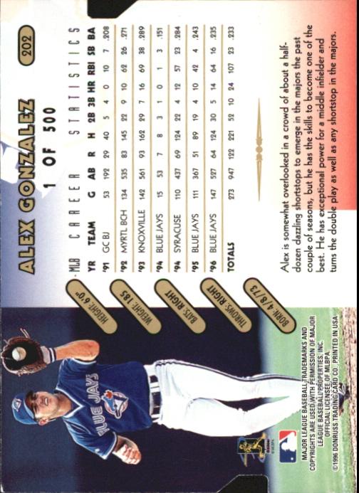 1997 Donruss Gold Press Proofs #202 Alex Gonzalez back image