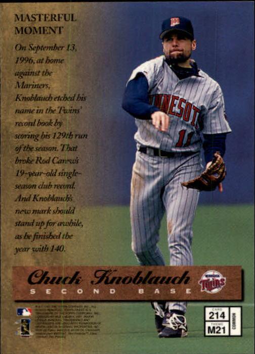 1997 Finest #214 Chuck Knoblauch B back image