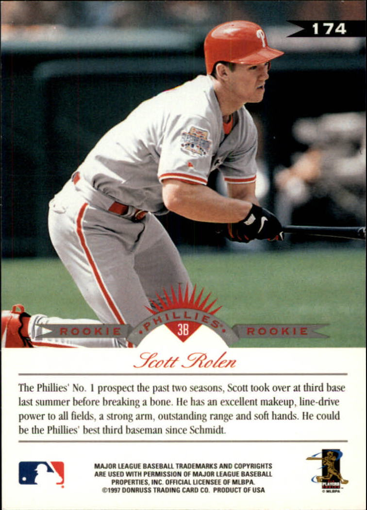 1997 Leaf #174 Scott Rolen back image