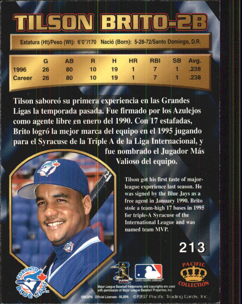 1997 Pacific #213 Tilson Brito back image
