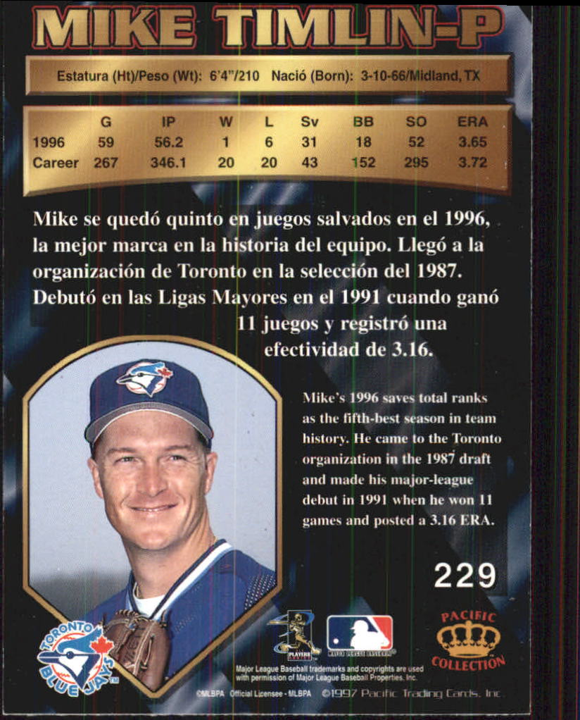 1997 Pacific #229 Mike Timlin back image