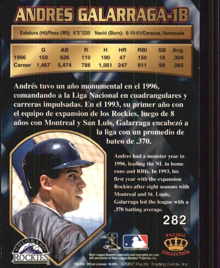 1997 Pacific #282 Andres Galarraga back image