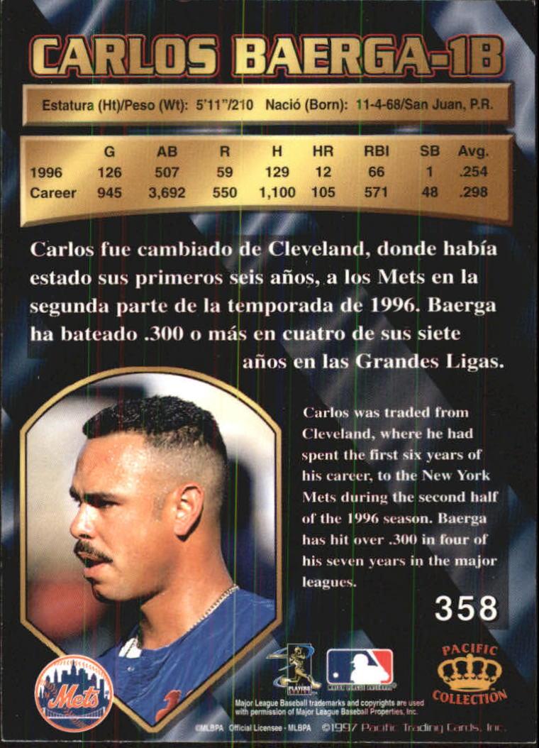 1997 Pacific #358 Carlos Baerga back image
