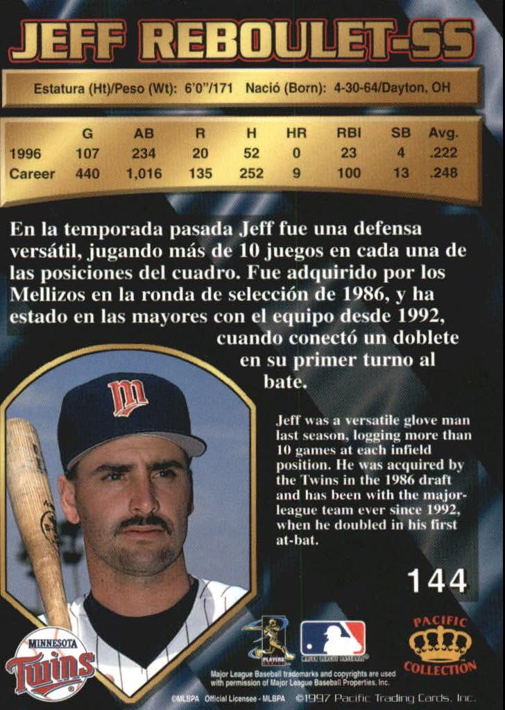 1997 Pacific Silver #144 Jeff Reboulet back image