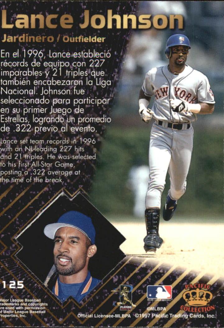 1997 Pacific Prisms Platinum #125 Lance Johnson back image