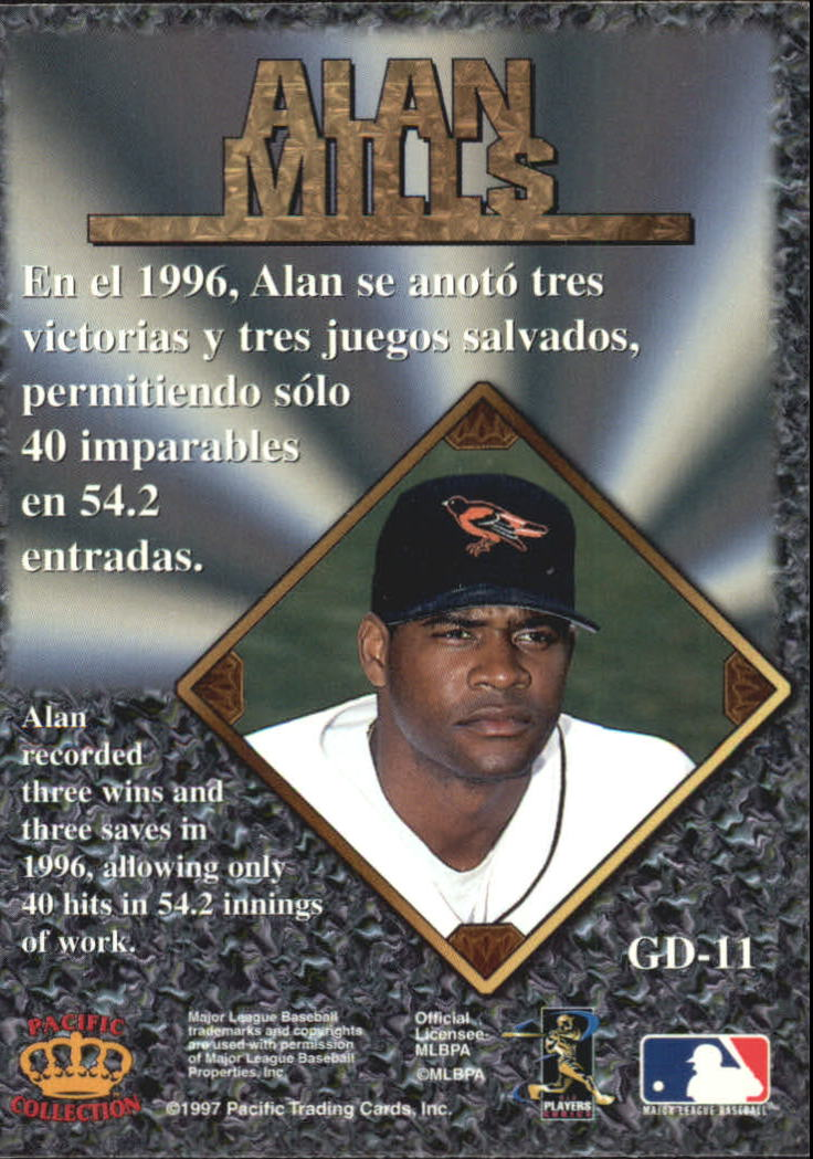 1997 Pacific Prisms Gems of the Diamond #GD11 Alan Mills back image