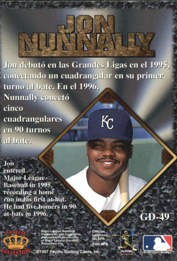1997 Pacific Prisms Gems of the Diamond #GD49 Jon Nunnally back image