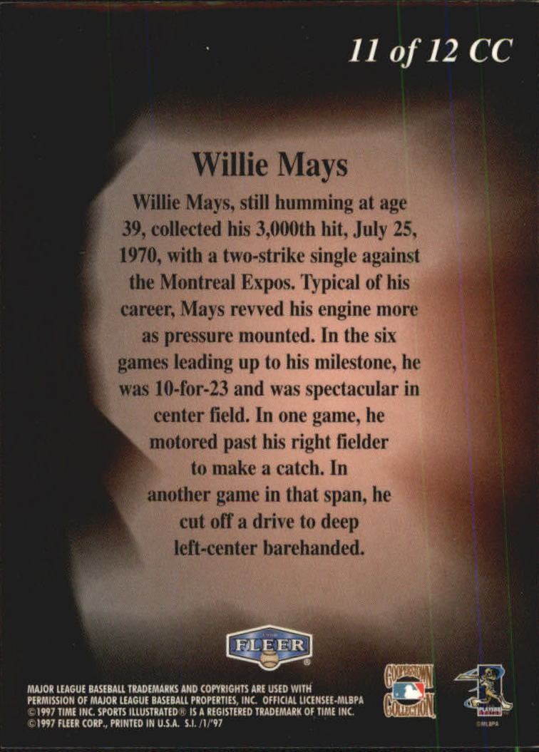 1997 Sports Illustrated Cooperstown Collection #11 Willie Mays back image