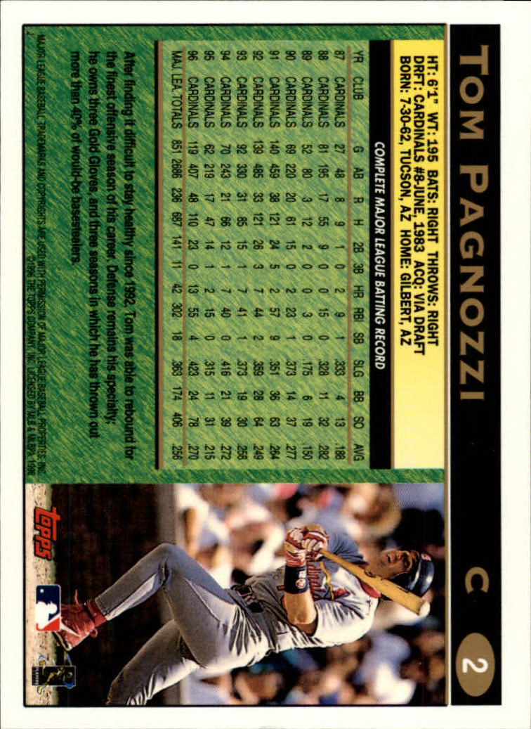 1997 Topps #2 Tom Pagnozzi back image