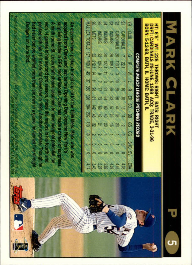 1997 Topps #5 Mark Clark back image