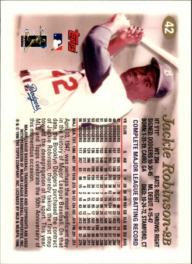 1997 Topps #42 Jackie Robinson TRIB back image