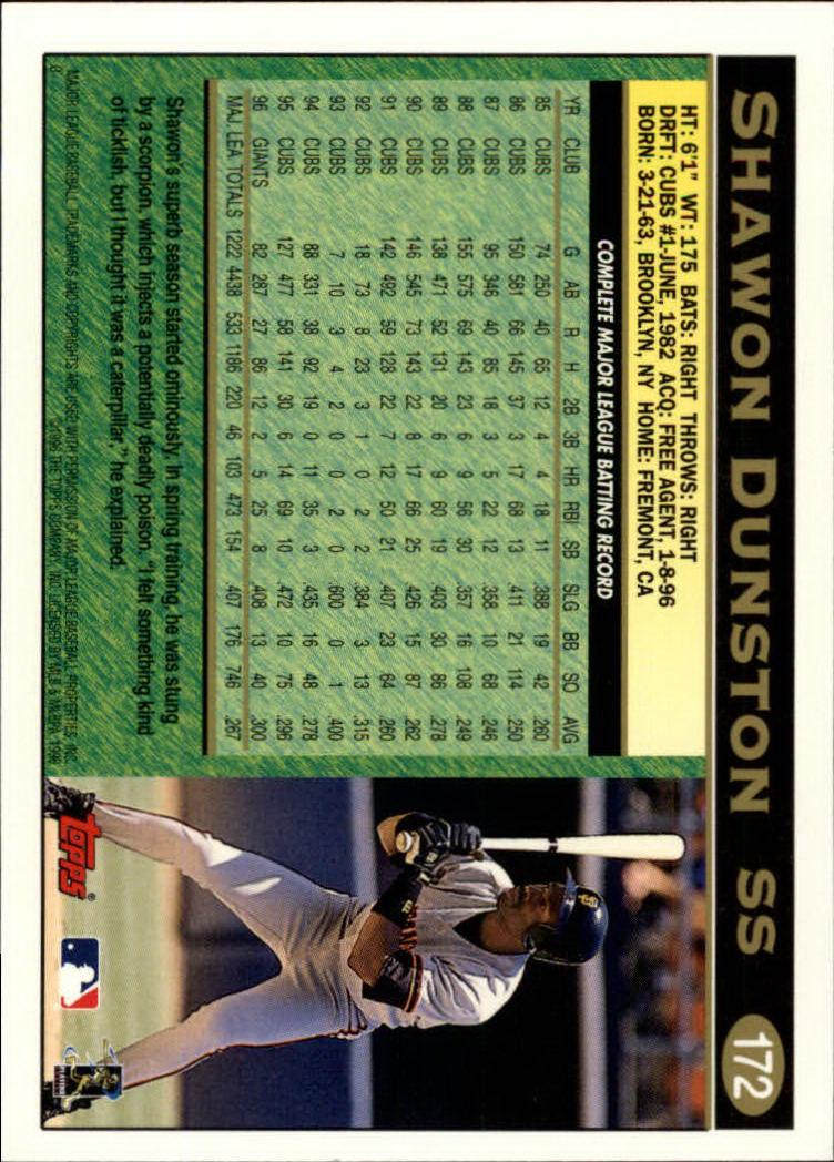 1997 Topps #172 Shawon Dunston back image