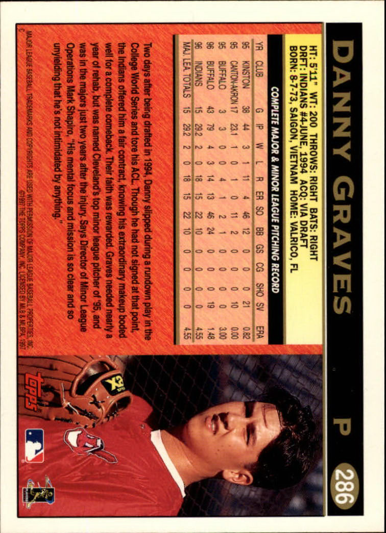 1997 Topps #286 Danny Graves back image