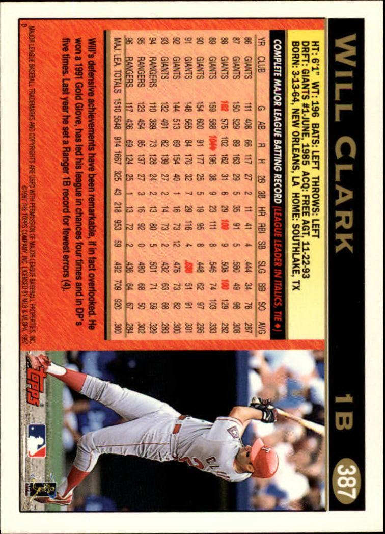 1997 Topps #387 Will Clark back image