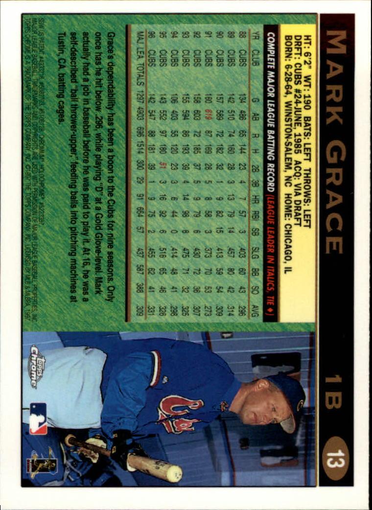 1997 Topps Chrome #13 Mark Grace back image
