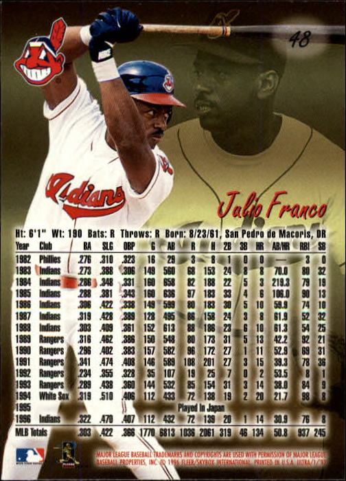 1997 Ultra #48 Julio Franco back image