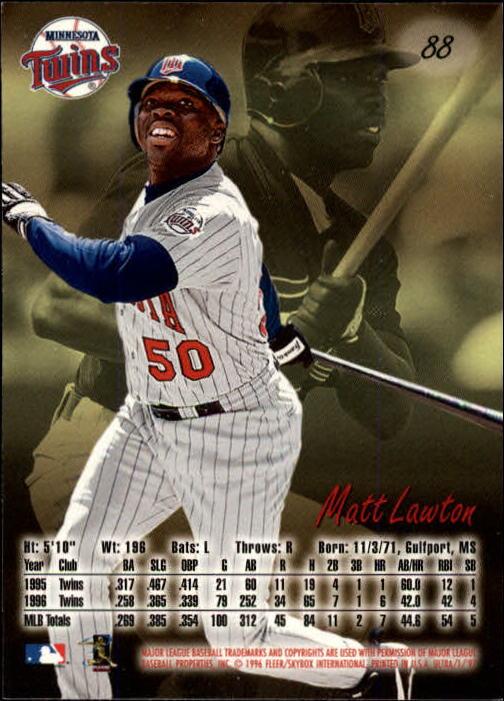 1997 Ultra #88 Matt Lawton back image