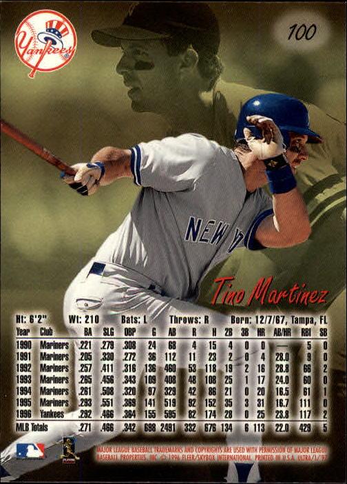 1997 Ultra #100 Tino Martinez back image