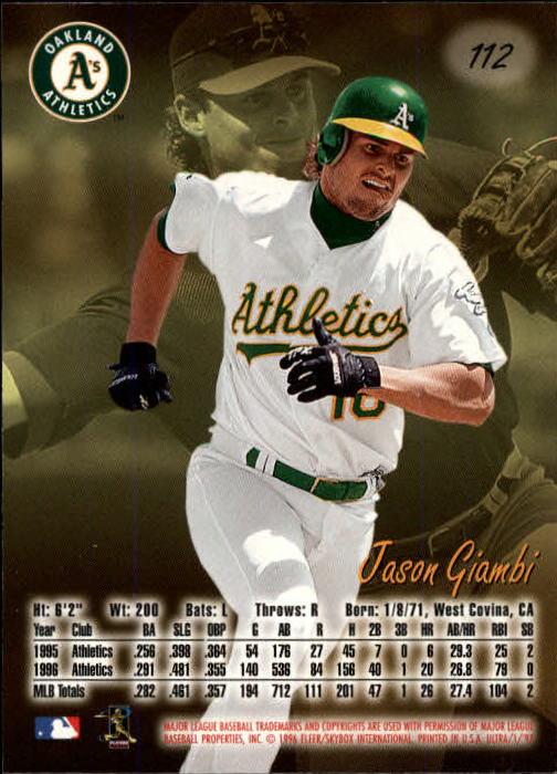 1997 Ultra #112 Jason Giambi back image