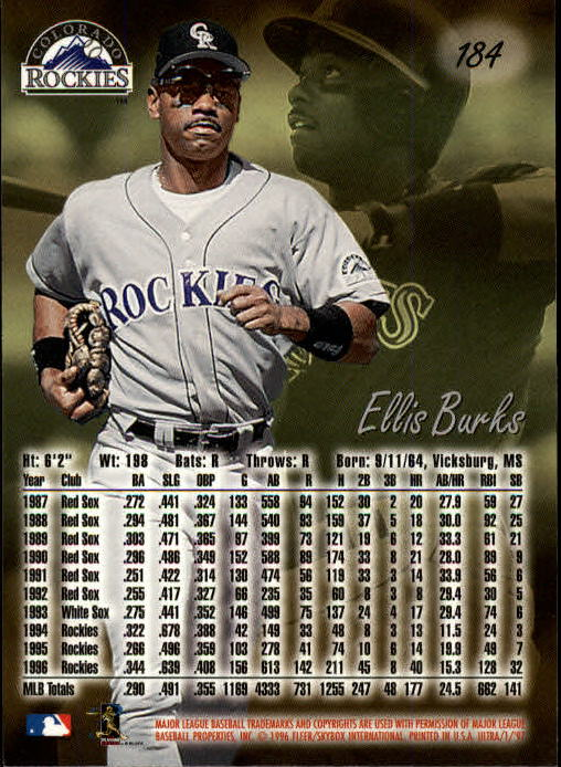 1997 Ultra #184 Ellis Burks back image