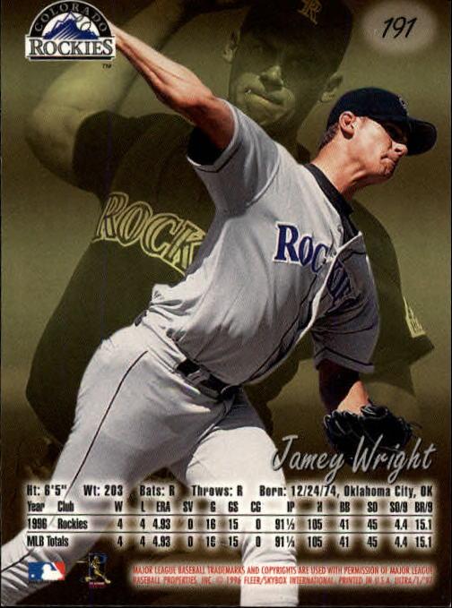 1997 Ultra #191 Jamey Wright back image