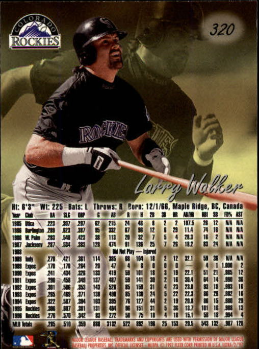 1997 Ultra #320 Larry Walker back image