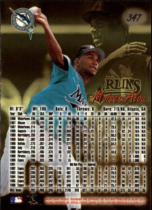 1997 Ultra #347 Moises Alou back image