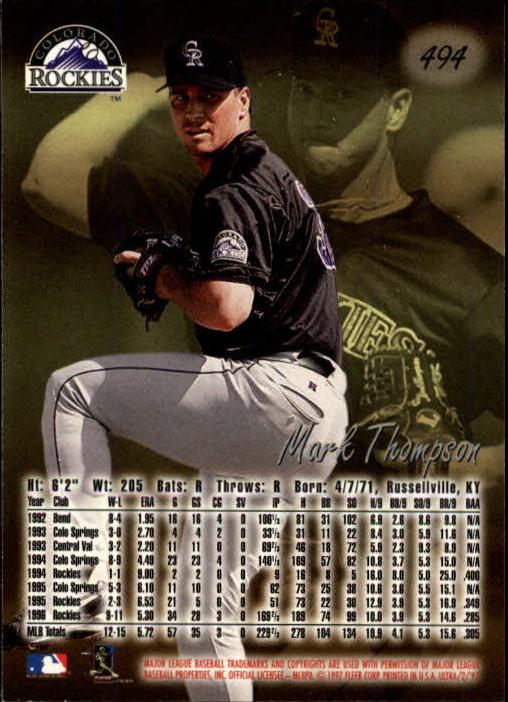 1997 Ultra #494 Mark Thompson back image