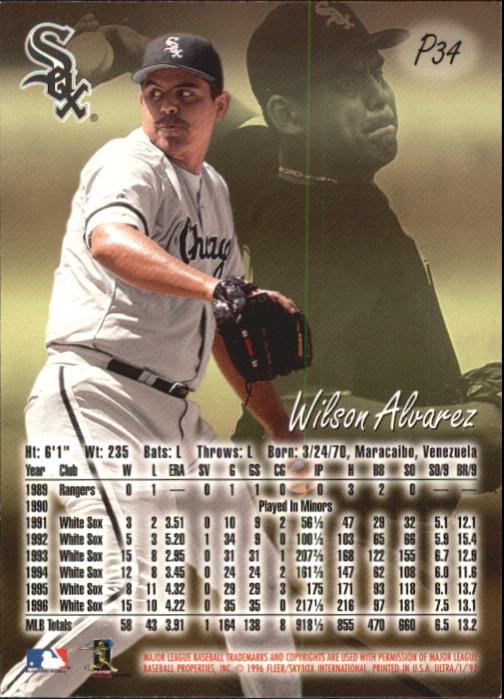 1997 Ultra Platinum Medallion #34 Wilson Alvarez back image