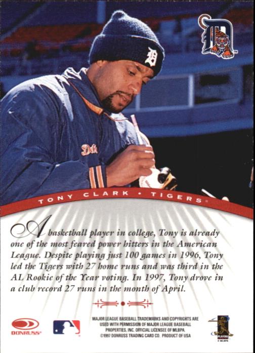 1997 Donruss Signature Autographs #18 Tony Clark/3900 back image