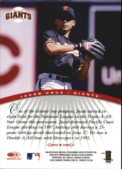1997 Donruss Signature Autographs #24 Jacob Cruz/3900 * back image