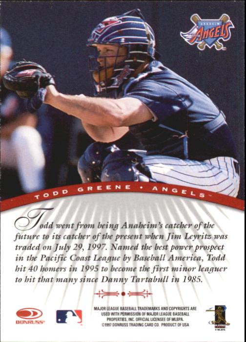 1997 Donruss Signature Autographs #42 Todd Greene/3900 back image