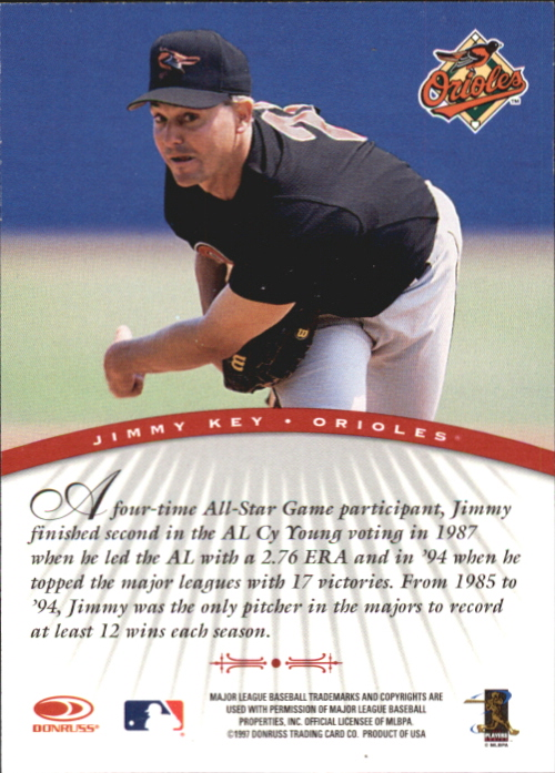 1997 Donruss Signature Autographs #59 Jimmy Key/3900 back image