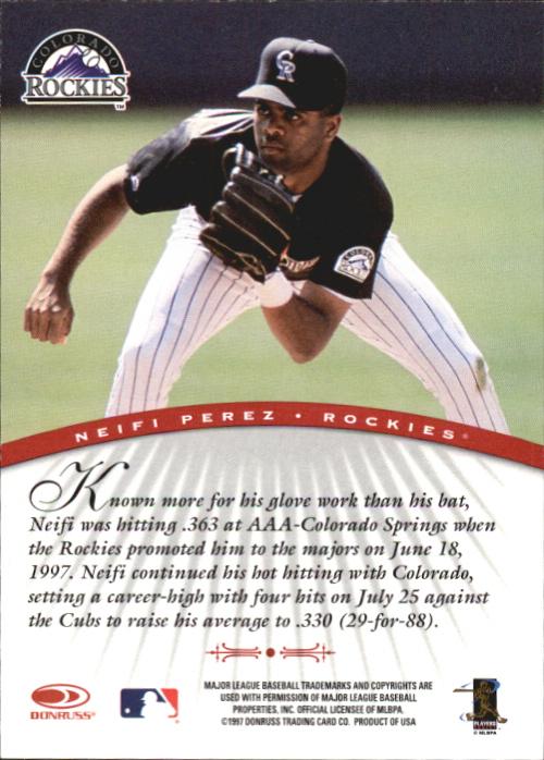 1997 Donruss Signature Autographs #79 Neifi Perez/3900 back image