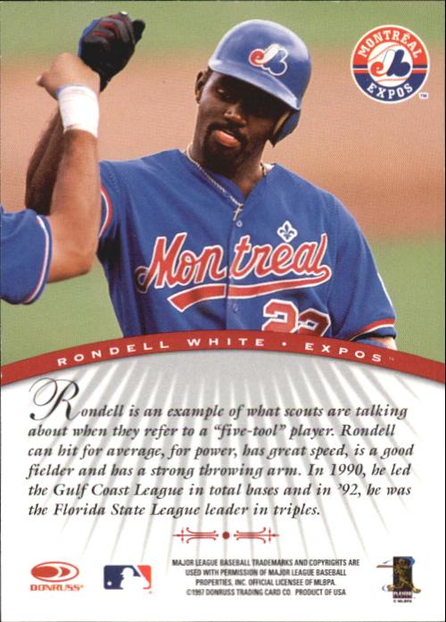 1997 Donruss Signature Autographs #107 Rondell White/3900 back image