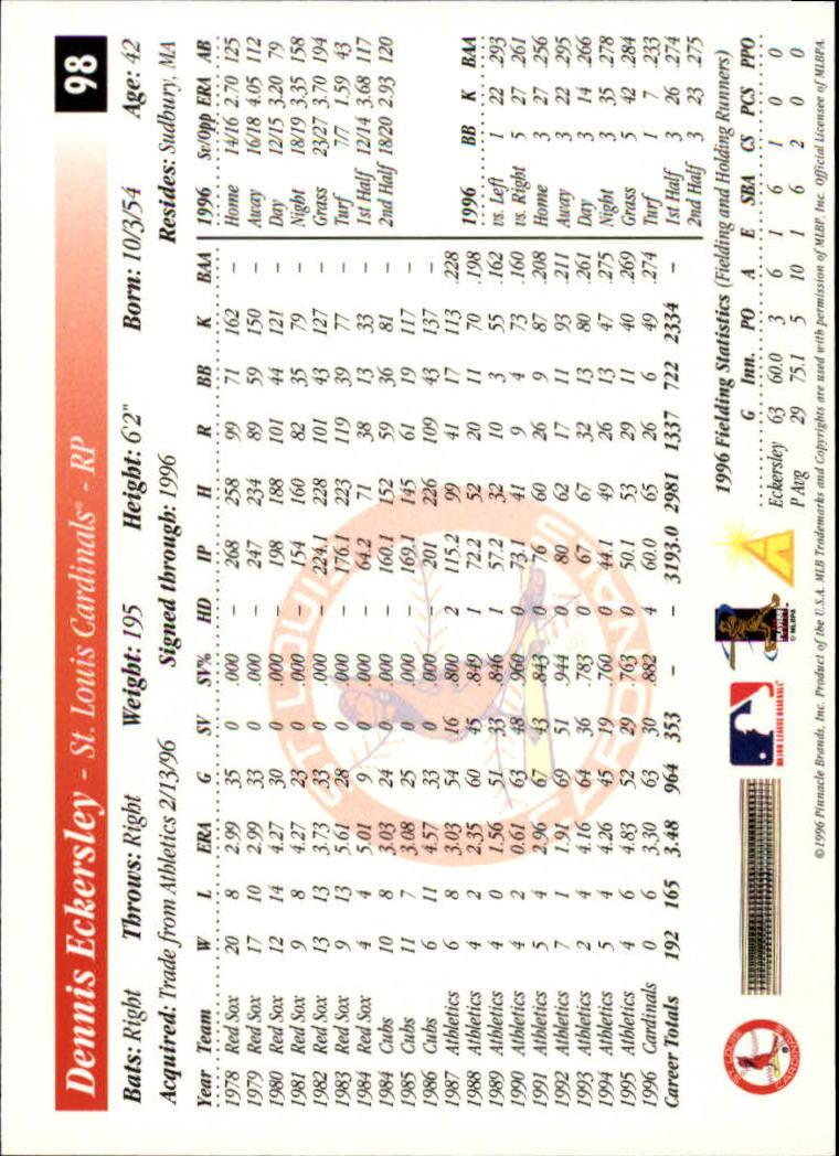 1997 Score #98 Dennis Eckersley back image