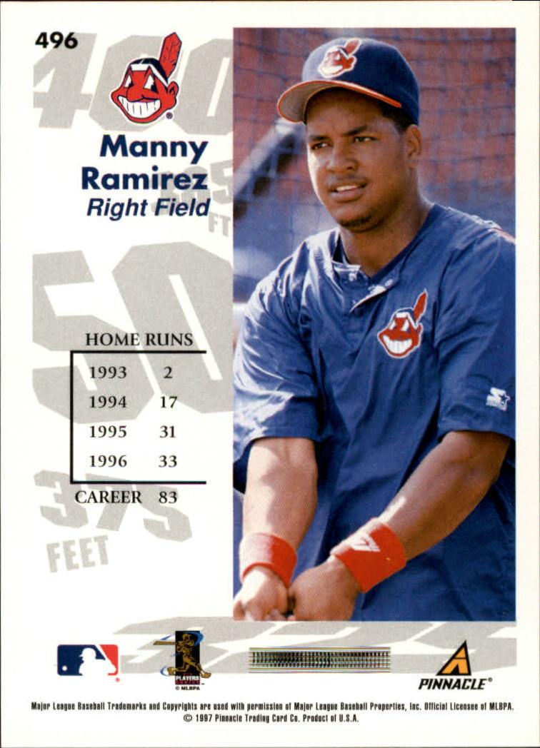 1997 Score #496 Manny Ramirez GY back image