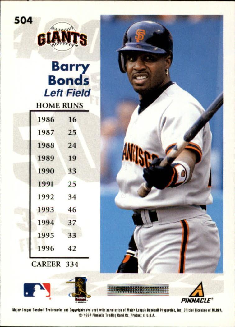 1997 Score #504 Barry Bonds GY back image