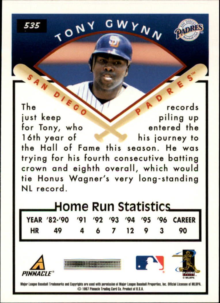 1997 Score #535 Tony Gwynn TG back image