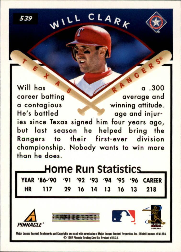 1997 Score #539 Will Clark TG back image