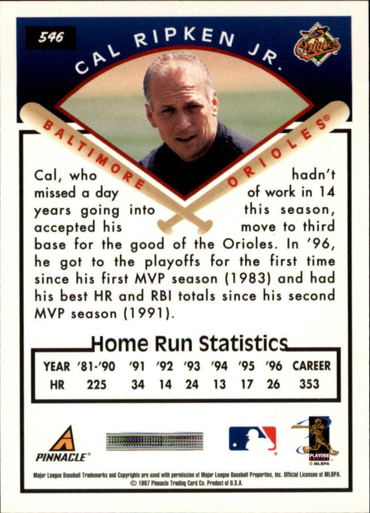 1997 Score #546 Cal Ripken TG back image