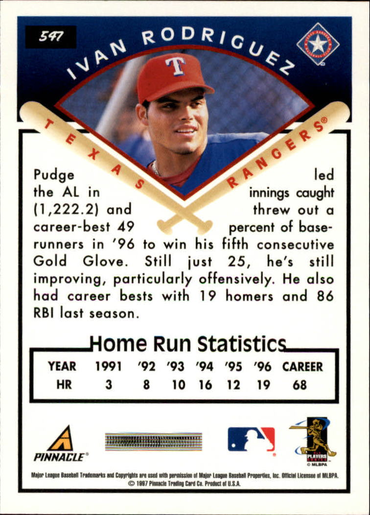 1997 Score #547 Ivan Rodriguez TG back image