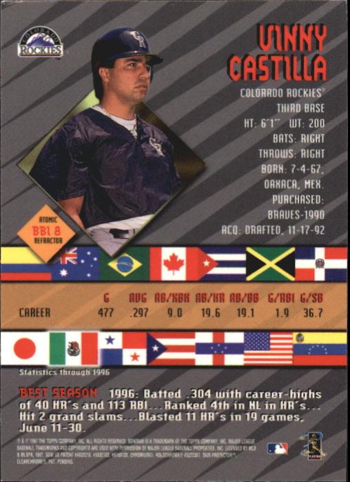 1997 Bowman International Best Atomic Refractor #BBI8 Vinny Castilla back image