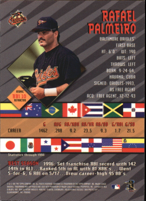 1997 Bowman International Best Atomic Refractor #BBI10 Rafael Palmeiro back image