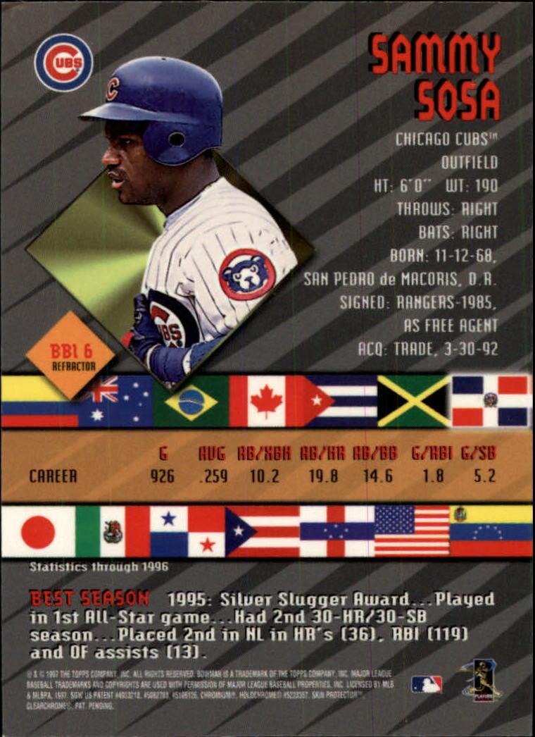 1997 Bowman International Best Refractor #BBI6 Sammy Sosa back image