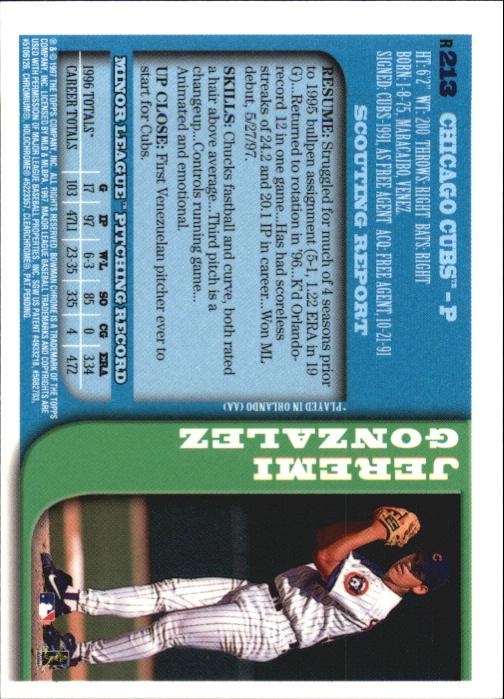 1997 Bowman Chrome Refractors #213 Jeremi Gonzalez
