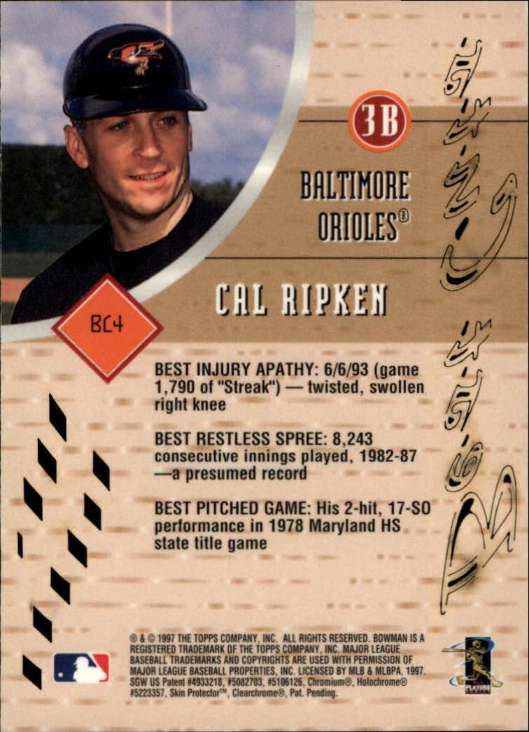 1997 Bowman's Best Best Cuts #BC4 Cal Ripken back image