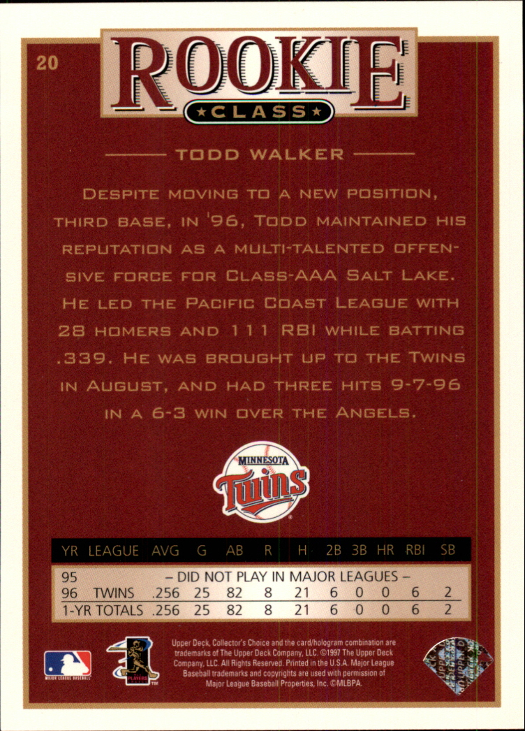 1997 Collector's Choice #20 Todd Walker back image