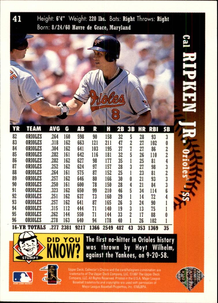 1997 Collector's Choice #41 Cal Ripken back image