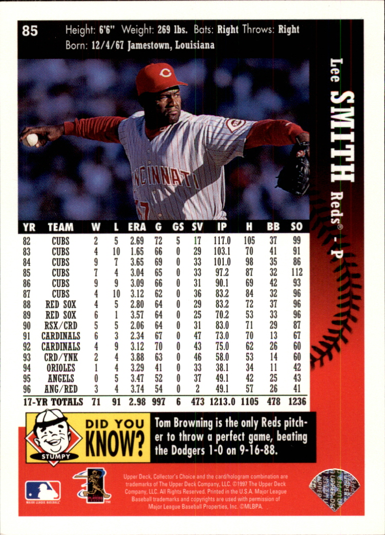 1997 Collector's Choice #85 Lee Smith back image
